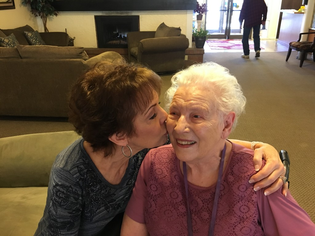 Mom and Paula - Paula kissing her cheek